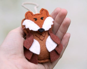 Felt Owl Ornament with Fox Mask, Plush Woodland Christmas Ornament Handmade by OrdinaryMommy