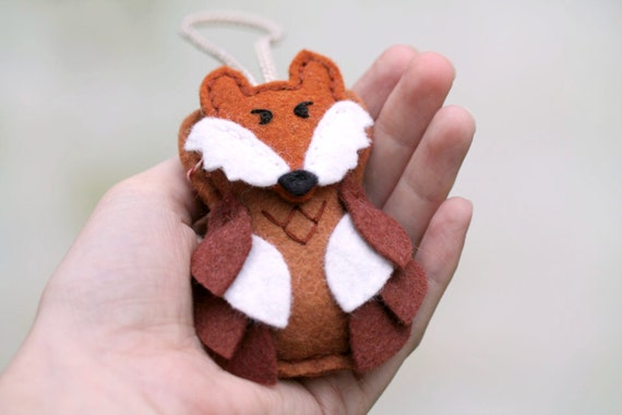 Kid Felt Ornament Fox. Owl Ornament with Fox Mask. Plush Woodland Christmas Ornament Handmade by OrdinaryMommy