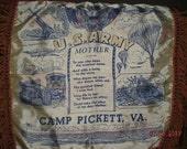 Vintage WW2 Pillow Cover Mother Camp Pickett VA.