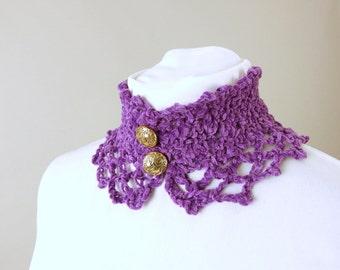 Handmade Crochet Radiant Orchid Purple Victorian Lace Neckwarmer Choker / Collar for Teen, Woman