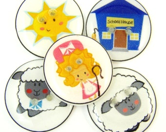"""5 Mary Had a Little Lamb Buttons. 3/4"""" or 20 mm.   Children's Buttons.  Children's Sewing Buttons.  Nursery Rhyme Buttons."""
