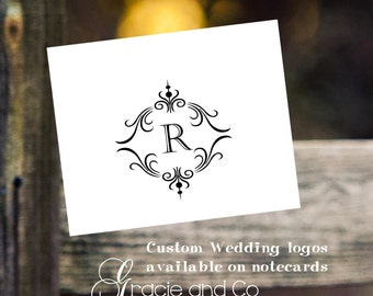 wedding logos custom original hand made personalized logos bridal notecards monogram stationery  thank you notes