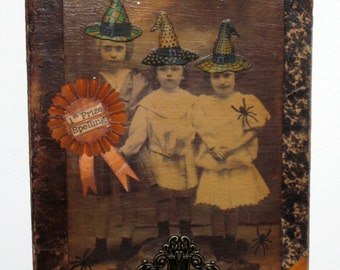 Halloween Collage on Antique Book Cover - 3 Little Witches from Salem Elementary School