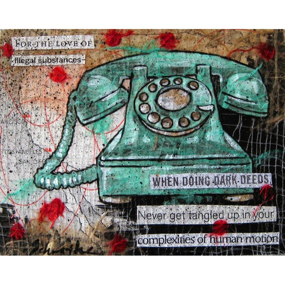 """SALE, Original Mixed Media Painting, Ransom Note Collage, Rotary Phone Art - """"For the Love Of"""""""