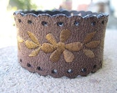 Embroidered Flower Bracelet Cuff Brown Womens