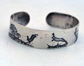 RESERVED FOR COLIN - slim sterling silver running hares bangle, silver hare cuff, sterling silver rabbit bracelet