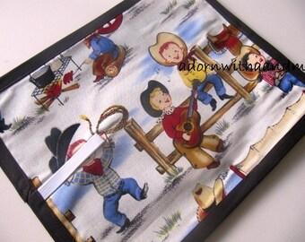 Chalkimamy Michael Miller's 'Lil Cowpokes TRAVEL chalkboard mat placemat (a)
