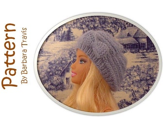 Knitting Pattern Beehive Slouchy Beret for Barbie