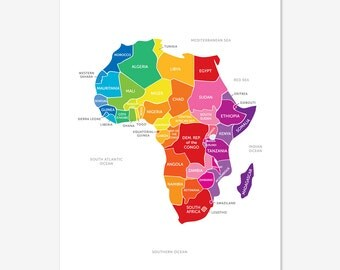 Map of Africa in Bright Colours