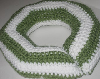 Hand Crocheted Toddler Neck Travel Pillow Olive Green Stripes