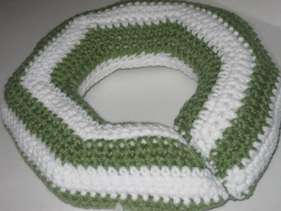 Crochet Pattern Neck Pillow : Hand Crocheted Toddler Neck Travel Pillow Olive Green Stripes