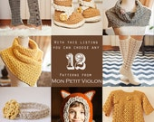 You choose any 12 patterns (crochet and knitting patterns)