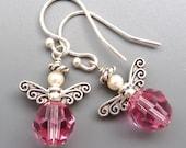 Angel Earrings...Pink Swarovski Crystal and Sterling Silver