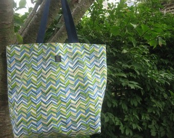 Large Beach Bag chevron blue green navy turquoise yellow white for Books, Bridesmaids, Knitting, Diapers REVERSIBLE