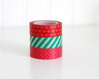 SALE Christmas Washi Tape set, Red and Green Stripes, Stars, and Chevron washi tape Japanese masking tape craft supply
