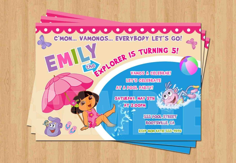 Dora the EXPLORER Swimming Pool Birthday Party Personalized – Dora the Explorer Party Invitations