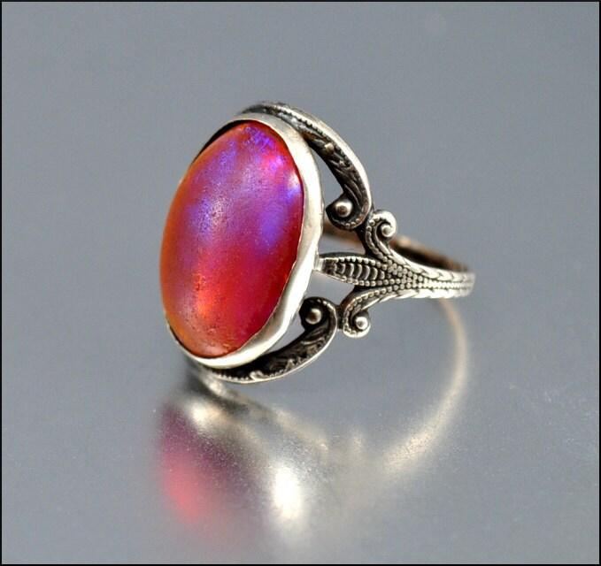 Art Deco Ring Sterling Silver Dragons Breath Ring By Boylerpf
