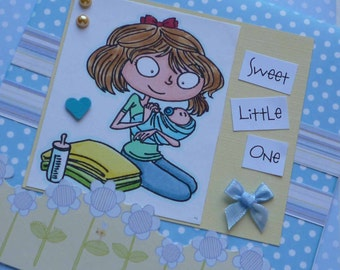 Sweet Little One - Handmade blank greeting card for a new baby BOY