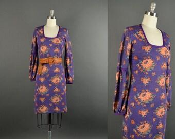 Vintage 60s Dress / 1960s Dress / floral knit dress / 60s Dress violet coral long sleeve dress