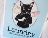 Black Cat Laundry Print - 8x10 Eco-friendly Size