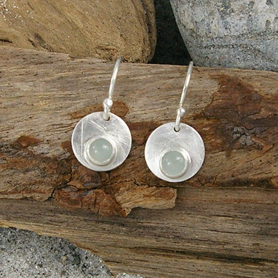 Sterling Silver and Aquamarine Cabochon Dangle Earrings