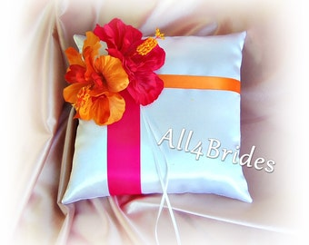 Hot pink and orange wedding hibiscus flowers ring bearer pillow | ring cushion.