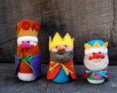OOAK Needle Felted Wool Three Little King Dolls Made to Order - each set is truly unique