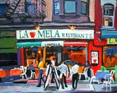 New York City Cafe Painting Art Little Italy NYC Wall Decor Print, New York City Urban Landscape Cityscape painting by Gwen Meyerson