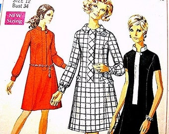 1960s A Line Dress Pattern Simplicity Pattern Misses size 12 Bust Women Long Sleeve Dress Vintage Sewing Pattern 60s