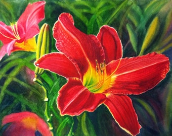 Red Daylily Art Watercolor Original Painting by Cathy Hillegas, 18x24 art, watercolors paintings original, floral watercolor, red, yellow