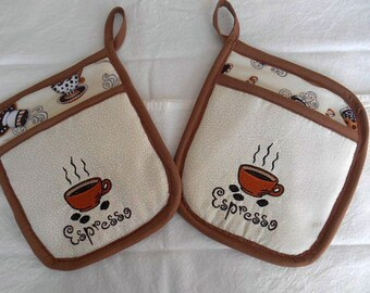 "Embroidered ""Espresso"" Pocket Hot Pad"