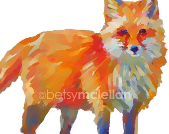 Fox - Playroom Art - Graphic Style - Paper - Canvas - Wood Block - Giclee Print
