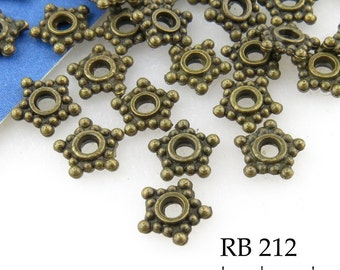 6mm Small Antique Brass Star Spacer Beads (RB 212) 50 pcs BlueEchoBeads
