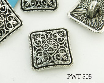 Square Pewter Button 13mm Antiqued Silver (PWT 505) blueecho 6 pcs
