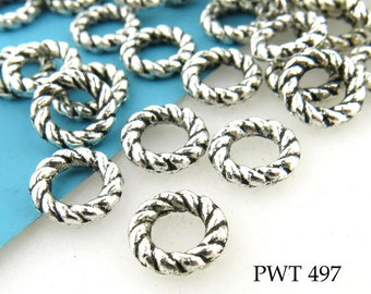 Pewter Twisted Ring Beads Antique Silver 8mm Closed Link (PWT 497) 20 pcs BlueEchoBeads