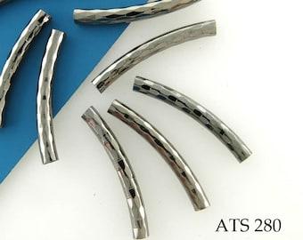 24mm Curved Tube Gunmetal Bead Antiqued Silver Noodle Bead Diamond Pattern (ATS 280) 10 pcs BlueEchoBeads