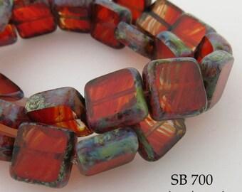 10mm Square Czech Glass Beads Window Cut Red Table Cut (SB 700) 8 pcs BlueEchoBeads
