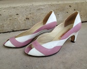 Vintage 80s shoes Pink and white leather peep-toe heels by Bandolino size 6