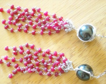Black pearl ruby tassel necklace