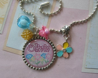 Personalized Girls necklace , flower motif