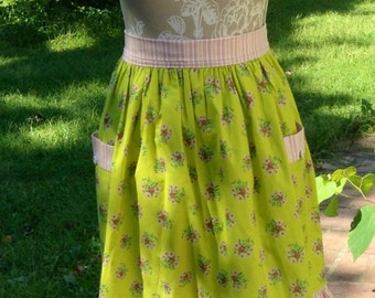 Apple Green Vintage-look Floral/Stripe Half Apron