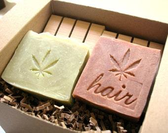 Hemp Soap and Shampoo Bar Gift Set by Aquarian Bath with 2 Cedarwood soap decks - Christmas gift