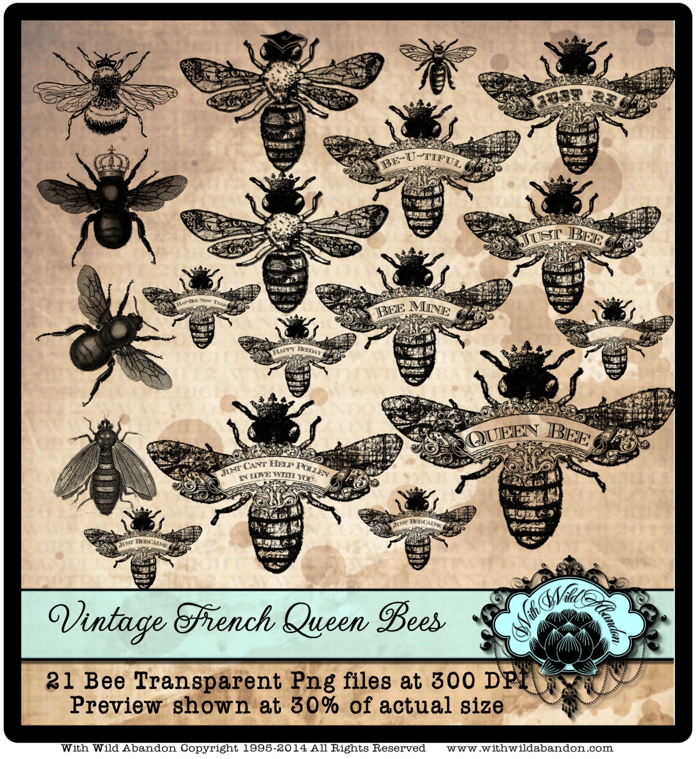 Bee Clipart Queen Bee Clipart Vintage French Wreath Clipart