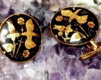 Vintage Cuff Links - Damascene Cufflinks - Gold Black - Butterfly Flowers - Sixties