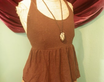Pagan Priestess Peasant Top... Chocolate Brown Hemp Cotton Hoodie