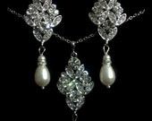 Chandelier Bridal Jewelry Set, Pearl Dangle Earrings, Art Deco Wedding Necklace, Swarovski Crystal, DAZZLES