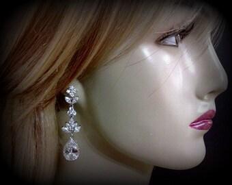 Teardrop Bridal Earrings, Paved Set Cubic Zirconia Earrings, Cz Dangle Jewelry, HARMONY
