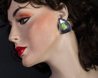 Navajo Modern Earrings - Estate Sterling Gaspeite Signed - Big Posts - Best Buy