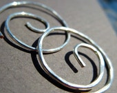 Free Shipping Item. Small Hoop Earrings. MINI. Spiral Swirl Hoops. Hammered Surface. High quality 18 gauge Silver Plated wire