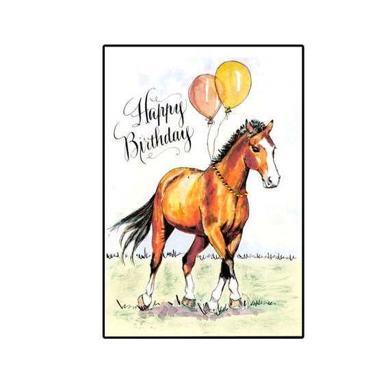Handmade Birthday Horse Card Bay Horse Birthday Horse With